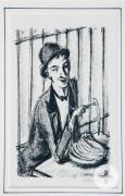 A. Paul Weber, Spargelesser, Illustration zu Bert Brechts Dreigroschenoper, Lithografie, 1957