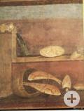 Fresko mit Abbildung von grünem Spargel mit Fisch und Meeresfrüchten, Pompeji, 10 n. Chr.