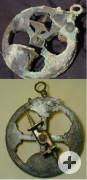 Astrolabium vor und nach der Konservierung