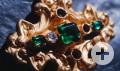 Goldkreuz mit Juwelen vom Guadalupe Schiffswrack von 1865, 2001 geborgen