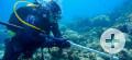 Taucher mit Magnetometer beim Absuchen des Meeresbodens