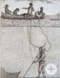 Taucher mit Helmtauchgerät nach Siebe-Gorman, Historischer Kupferstich, um 1820