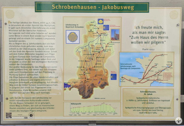 Infotafel über den Jakobsweg vor der Stadtpfarrkirche Sankt Jakob