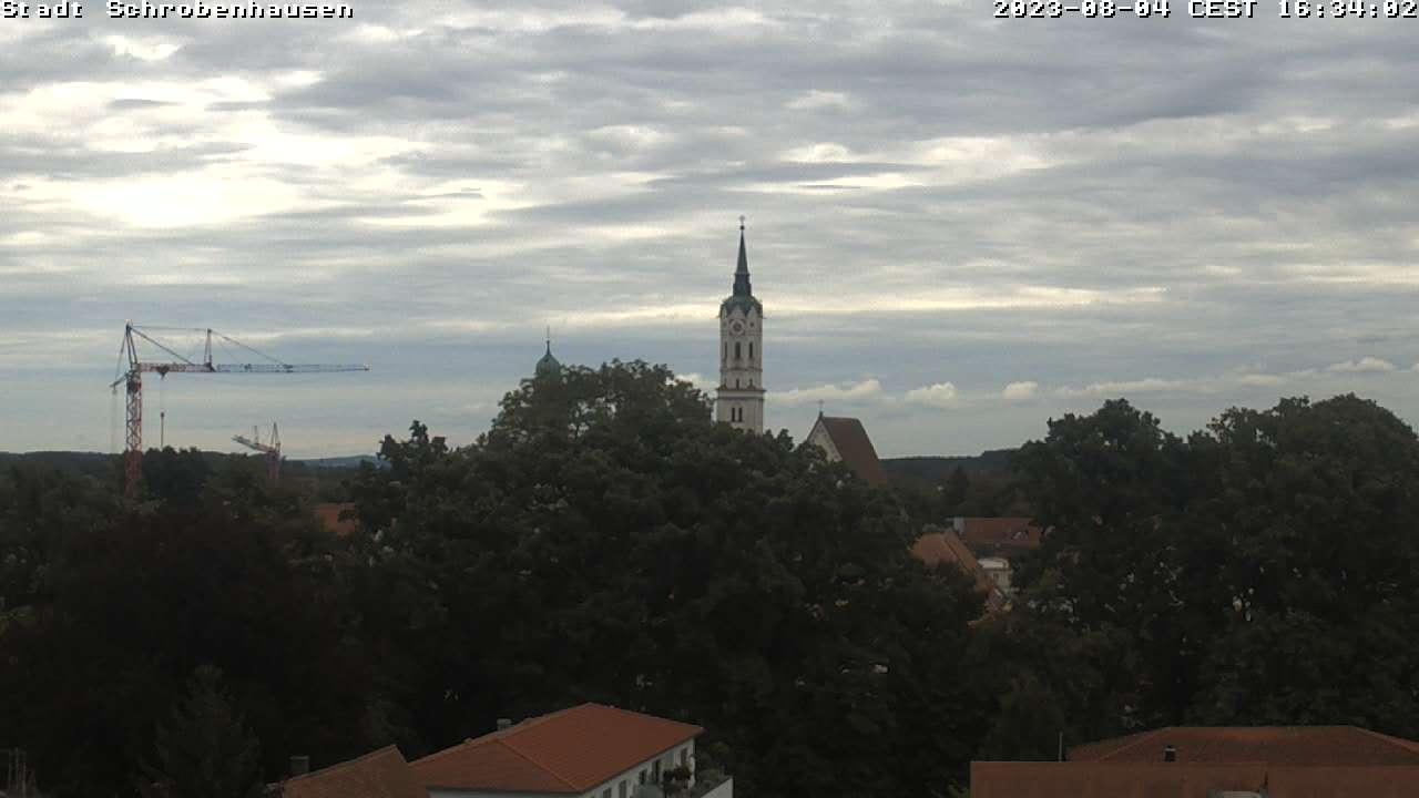 Livebild mit Blick auf den Stadtwall und der Stadtpfarrkirche Sankt Jakob